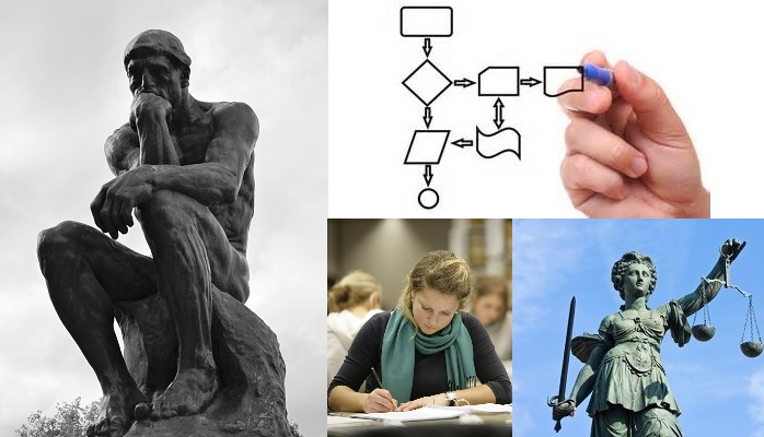 Images of thinker, student, flowchart, justice