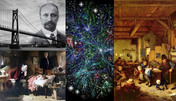 Image collage of Engineer, Doctor, Teacher, Internet